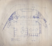Orignal blueprint plan of the Officer's Lounge of the Enterprise, for ST:TMP.
