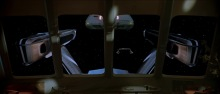 View out of the Officer's Lounge as the warp shuttle arrives.