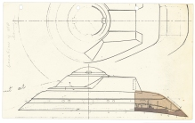 Production sketch by Andrew Probert from early 1979 for Star Trek: The Motion Picture, working out the location of the VIP lounge within the Bridge/2-3 Deck superstructure.
