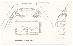 150ppi scan of a production sketch by Andrew Probert dated 2-28-1979 for Star Trek: The Motion Picture, working out the design of the VIP lounge within the Bridge/2-3 Deck superstructure.