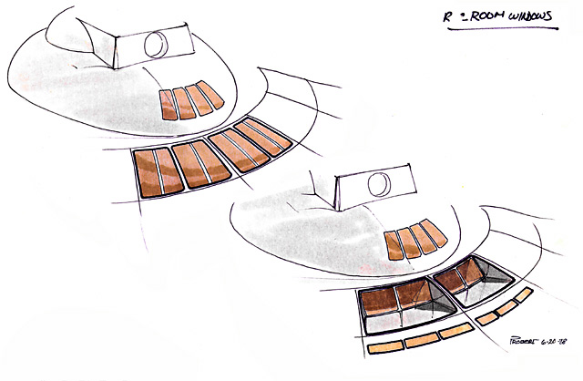 Production sketches by Andrew Probert, dated June 20, 1978, of proposed locations for situating the Recreation Room in the upper saucer. The final location was moved to the aft/starboard rim of the main saucer.