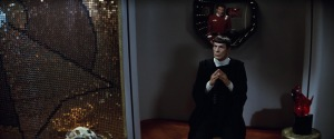 The IDIC symbol wall hanging on the left-hand wall of Spock's quarters in scene from Star Trek II: The wrath of Kahn. (Image: Courtesy Paramount Pictures)