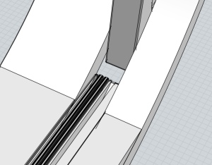 Detail of the travel pod door 3D model, showing a gap when the door is opened as far as shown in the film.