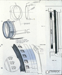 Travel Pod & Shuttle docking ring concept sketches by Andrew Probert, dated April 25, 1978.