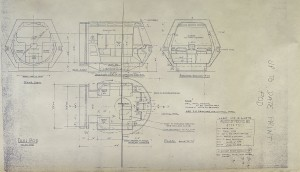 150ppi scan of the live-action travel pod set construction blueprints, drawn by John Cartwright, revised June 17, 1978.