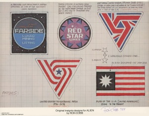 Figure 1.1 Ron Cobb's original drawing for the UK-7 patch. Source: The Authorized Portfolio of Crew Insignias from The UNITED STATES COMMERCIAL SPACESHIP NOSTROMO Designs and Realizations