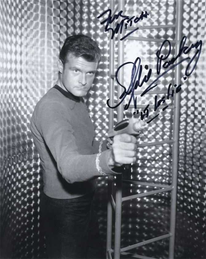 Autographed publicity photo of Eddie Paskey, who played Lt. Leslie on Star Trek. Signed on August 3rd, 2018 at the 2018 Star Trek Convention in Las Vegas, Nevada.