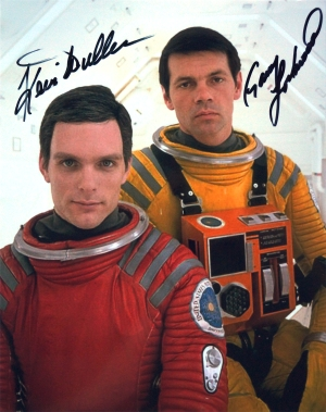 2001: A Space Odyssey publicity photo pre-signed by Keir Dullea (left) and signed by Gary Lockwood (right) on August 2nd, 2018 at the Star Trek Convention, Las Vegas Nevada.