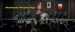 Mayflower Project flag in a scene from Close Encounters of the Third Kind.