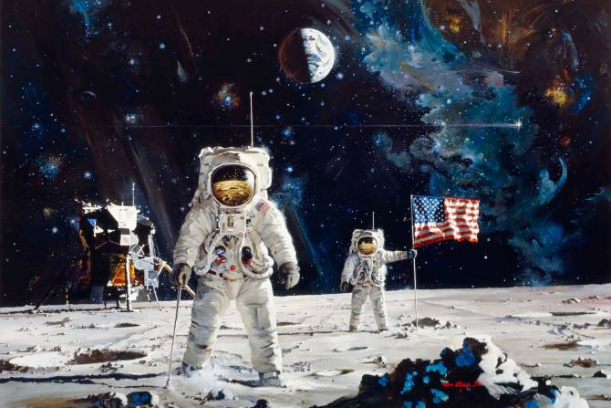Robert McCall's 1971 oil on canvas painting titled