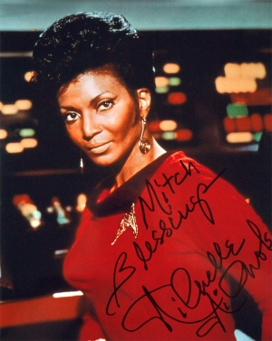 Autographed photo of Nichelle Nichols as Lt. Uhura, signed on August 2nd, 2018 at the Las Vegas Star Trek Convention.