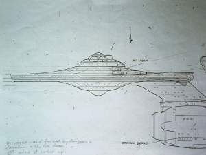 Production sketch showing by Andrew Probert, showing a proposed location for the rec. room set location within the Enterprise.