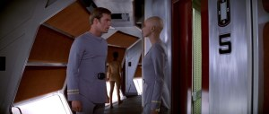 Scene from Star Trek: The Motion Picture when Cmdr. Decker runs into Lt. Ilia on deck five of the Enterprise as she is headed to her quarter's.