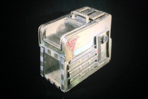 Figure 1.4 From the collection of Bob Burns, the original cat carrier prop, which features a UK-7 decal on the side. (Image: Courtesy Aliens in the Basement)