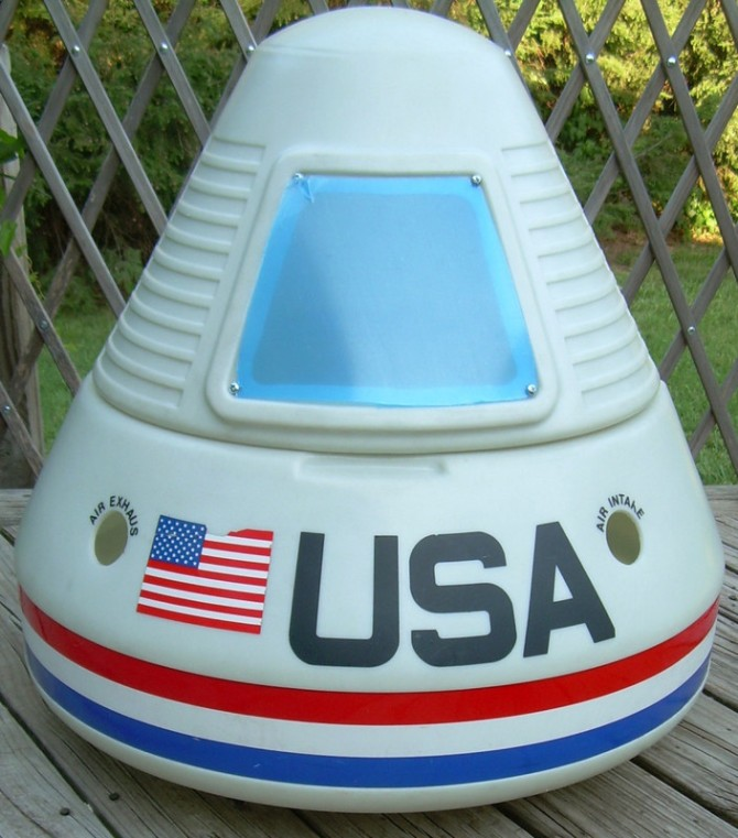 Front of a vintage Little Tikes kid's Apollo Space Capsule Toy Chest.