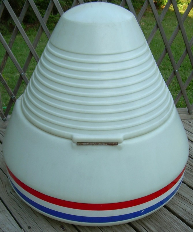 Back view of a vintage Little Tikes kid's Apollo Space Capsule Toy Chest.
