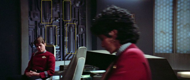 "Sonobuoy case used in wall machinery panels in the Spacedock transporter room in ""Star Trek III: The Search for Spock""."