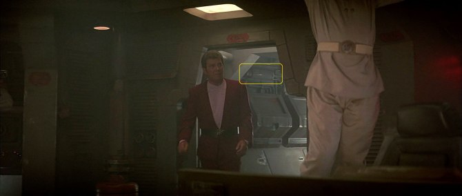 Sonobuoy case used in wall machinery panels in Klingon bird-of-prey hallway in