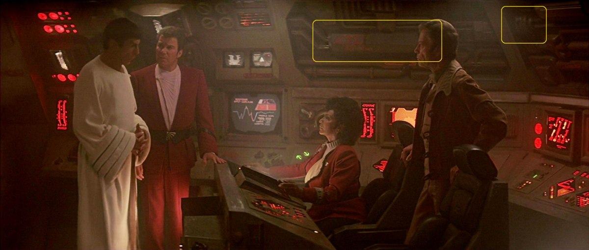 "Sonobuoy case used in wall machinery panels on Klingon bird-of-prey's bridge in ""Star Trek IV: The Voyage Home""."