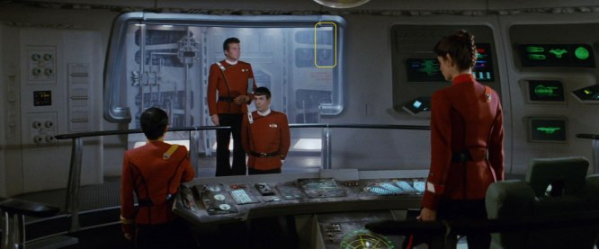 "Sonobuoy cases used as wall panel detailing for the bridge simulator set in ""Star Trek II: The Wrath of Khan""."