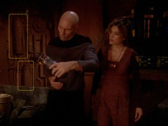 "Sonobuoy cases used as wall panel machinery of a wrecked Terelian cargo freighter in the TNG episode ""Liaisons."