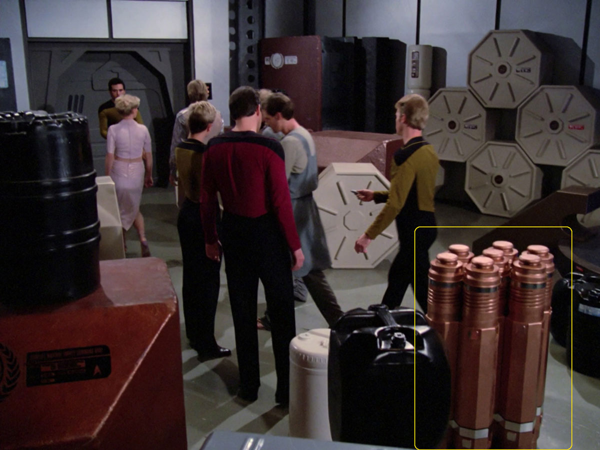 "Sonobuoy cases used as felicium containers in the TNG episode ""Symbbiosis""."