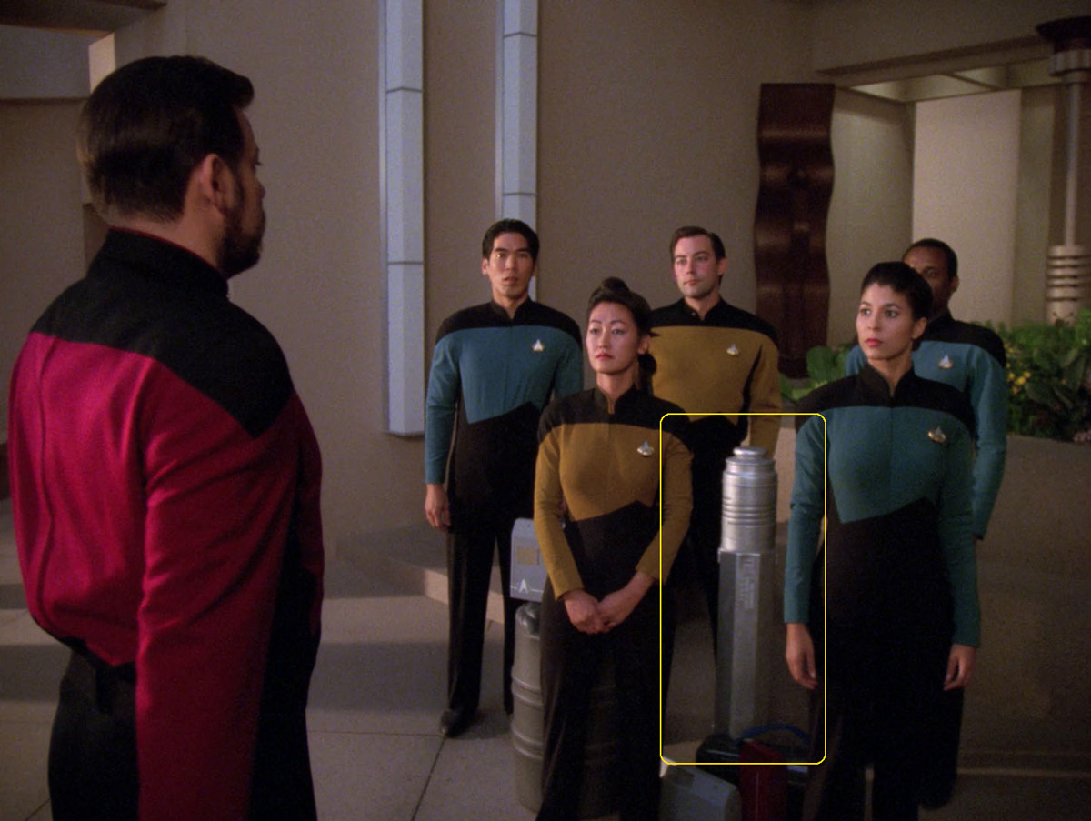 "Sonobuoy case used as a prop container in the TNG episode ""The Masterpiece Society""."
