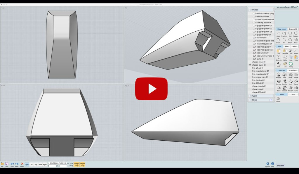 Video of creating a new 3D model for the workbee's outer shell.