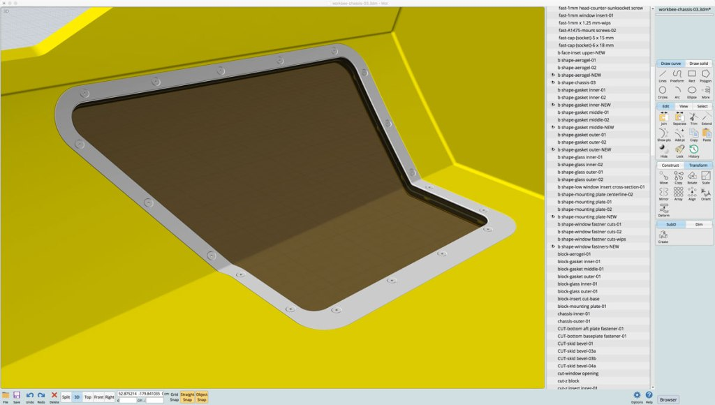 Interior view of the 3D model of the workbee's port underside window. The windows translucency is simulated.