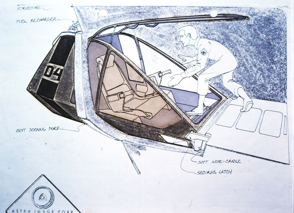 Workbee concept drawing by Andrew Probert, showing how a pilot enters the cab when it is hard-docked into is docking port.
