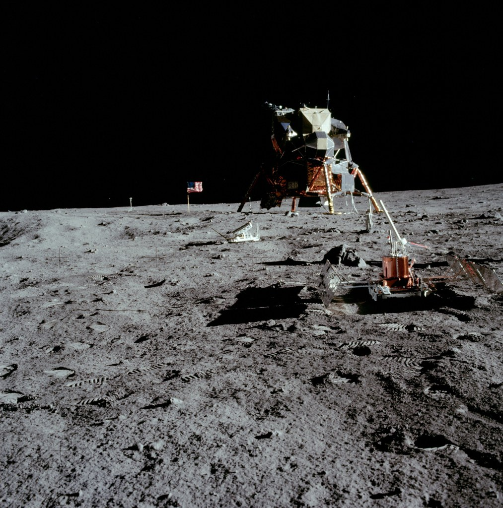 Image of the Passive Seismic Experiment Package (PSEP) with the Lunar Excursion Module (LEM) in the background, taken by Neil Armstrong on the moon, July 20th 1969. (Image courtesy: NASA)
