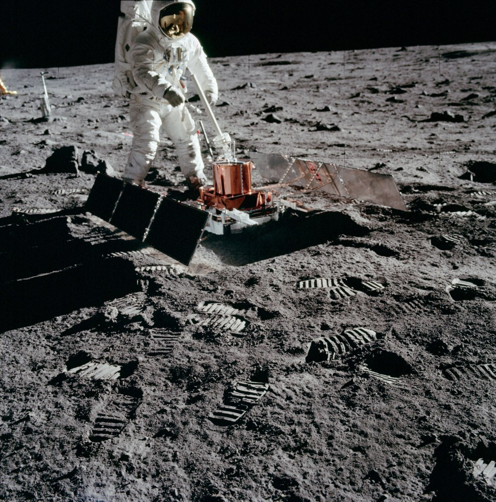 Image of Buzz Aldrin deploying the Passive Seismic Experiment Package (PSEP) taken by Neil Armstrong on the moon, July 20th 1969. (Image courtesy: NASA)