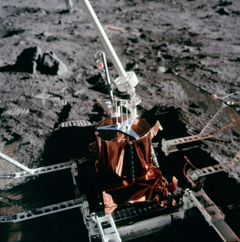 Close-up image of the deployed Passive Seismic Experiment Package (PSEP) taken by Neil Armstrong on the moon, July 20th 1969. (Image courtesy: NASA)