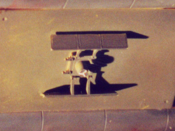 Apollo 11 PSEP model kit piece on the original workbee filming miniature. (Images: Third Wave)