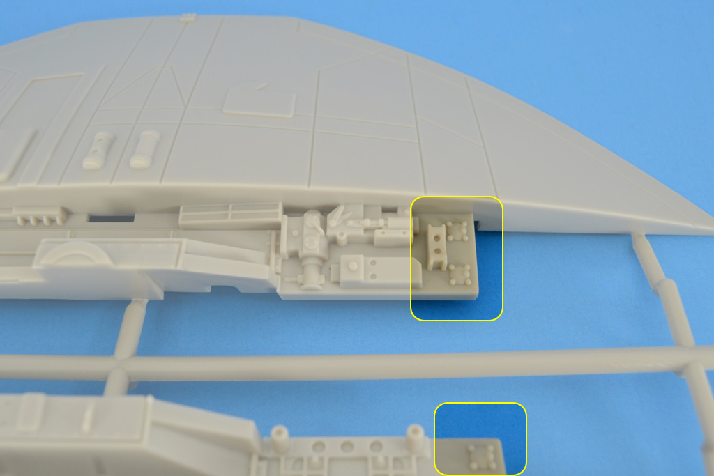 """The studio scale model of the Cylon Raider from the original TV series had a few of these pieces on the wing attachment roots. Detail image of the wing root of the Moebius Models' studio scale kit with the """"universal greeble"""" being highlighted."""