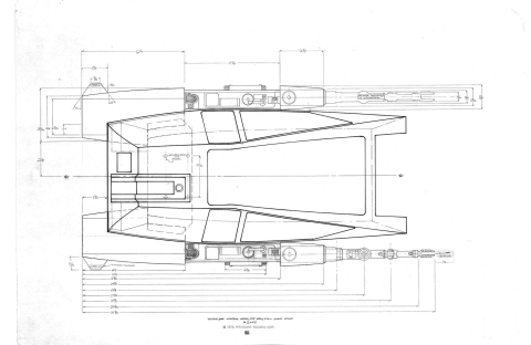 Workbee grappler-arm/work sled top plan view production drawing, by Leslie Ekker.