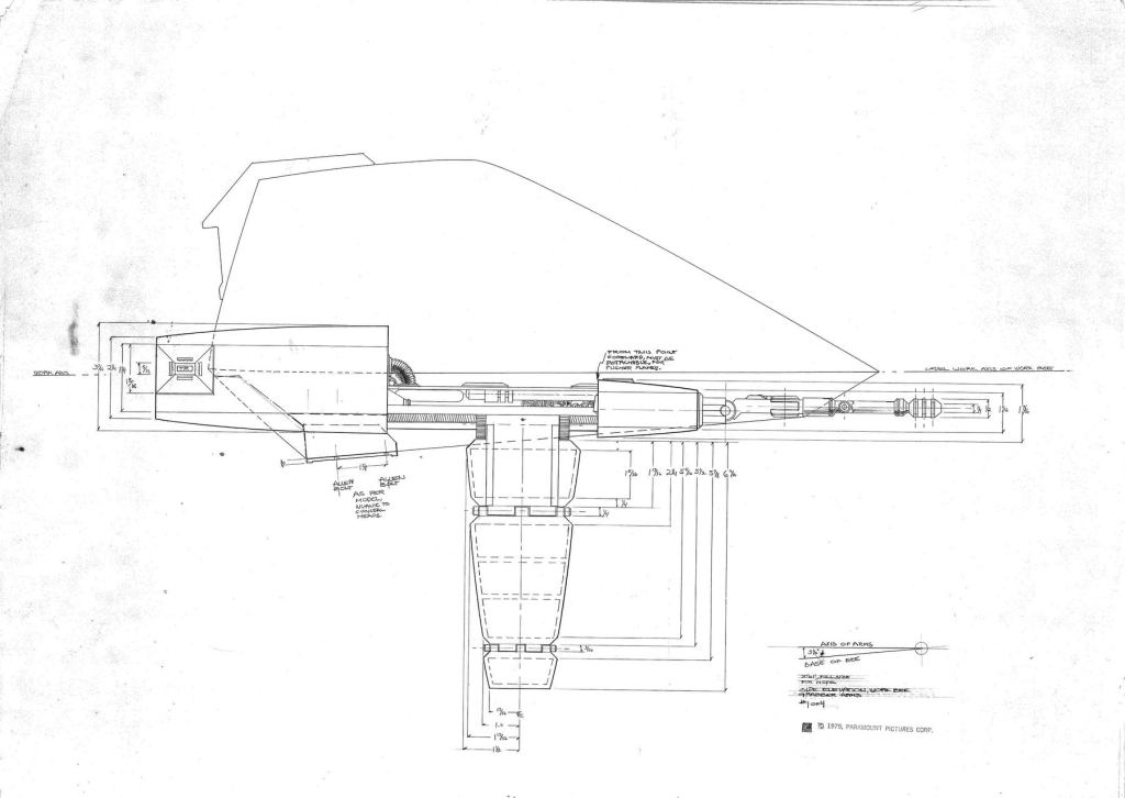 Workbee grappler-arm/work sled side elevation view production drawing, by Leslie Ekker.