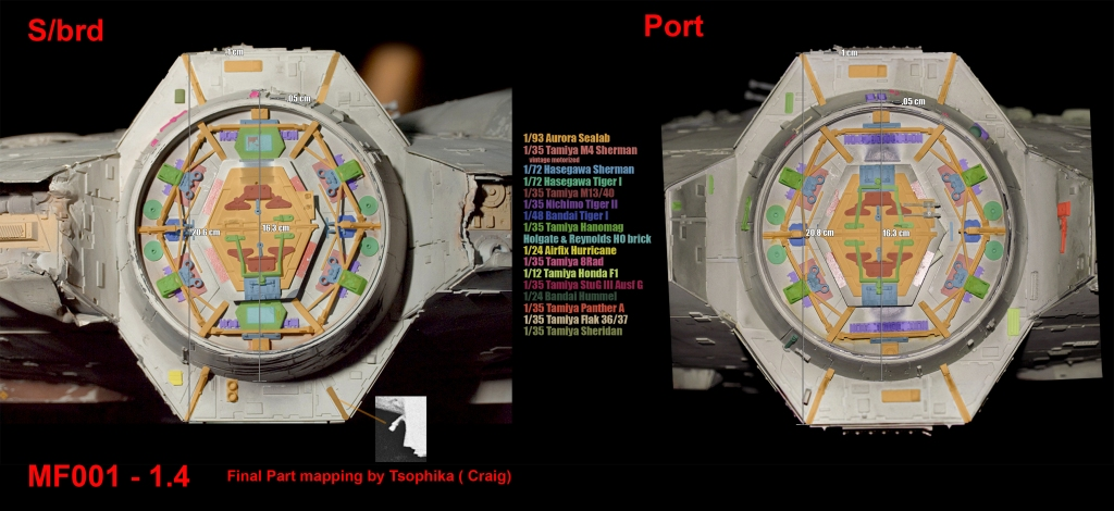 Millennium Falcon docking rings kitbashing parts map of the original five-foot filming miniature. (Image courtesy: Falcon A!)