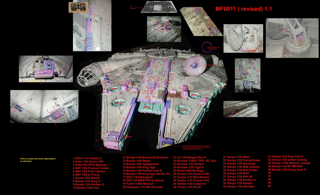 Millennium Falcon upper front kitbashing parts map of the original five-foot filming miniature. (Image courtesy: Falcon A!)