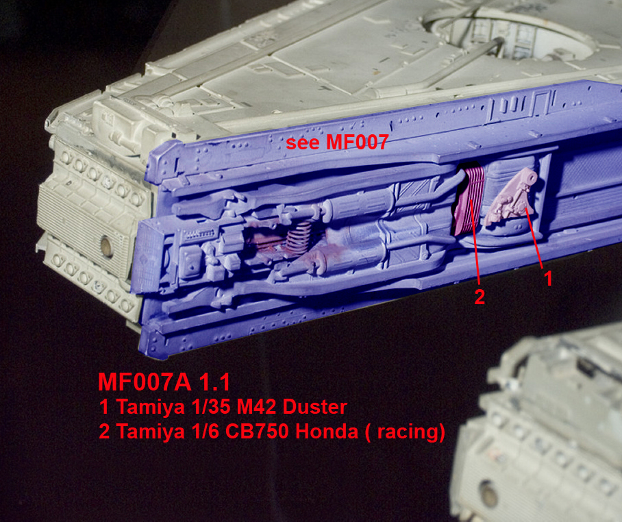 Millennium Falcon starboard inside mandible kitbashing parts map of the original five-foot filming miniature. (Image courtesy: Falcon A!)