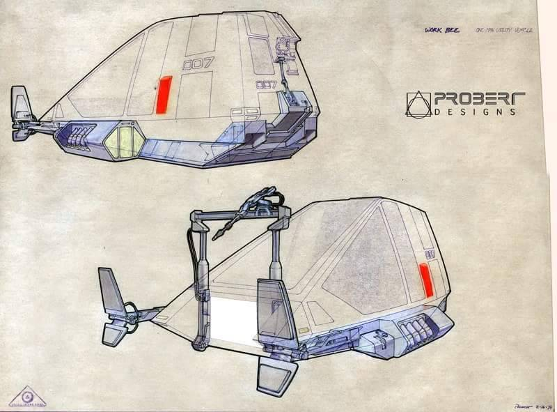 Workbee grappler-arm/welder work sled perceptive sketches, by Andrew Probert.