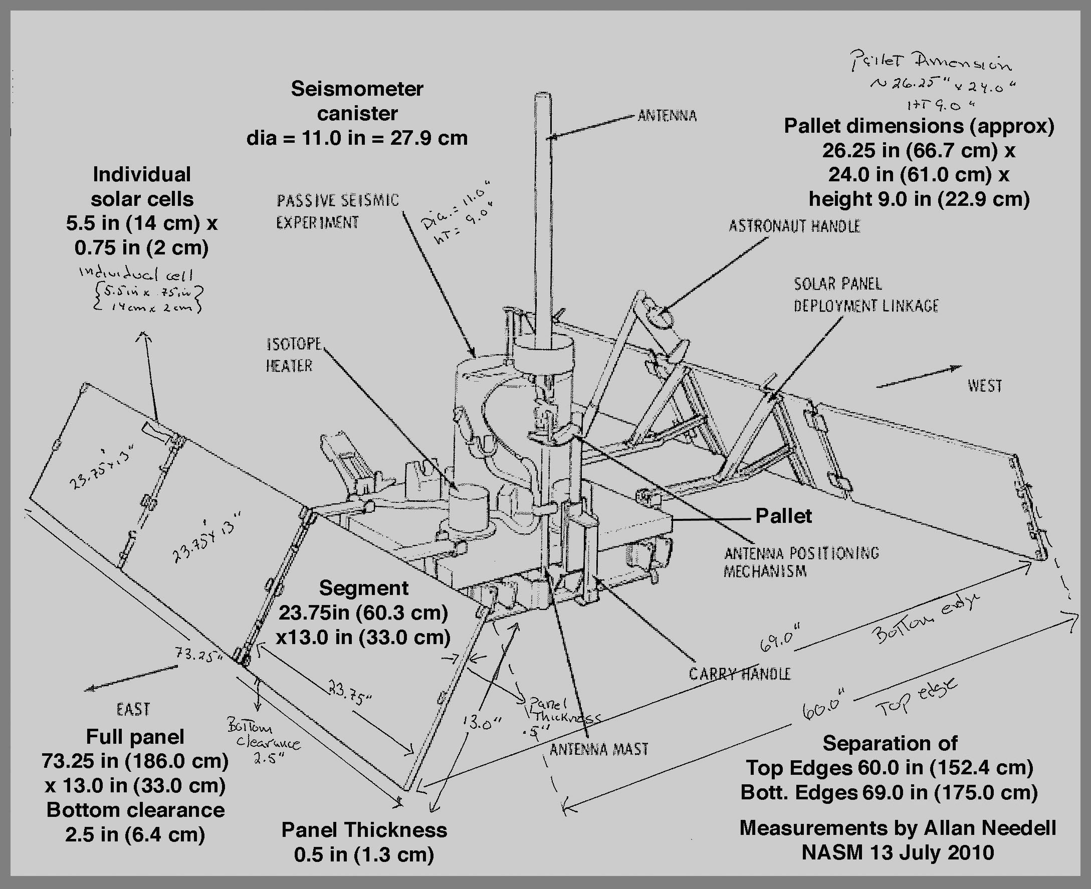Diagram of the Apollo 11 Passive Seismic Experiment Package (PSEP). (Image courtesy: Smithsonian National Air and Space Museum)