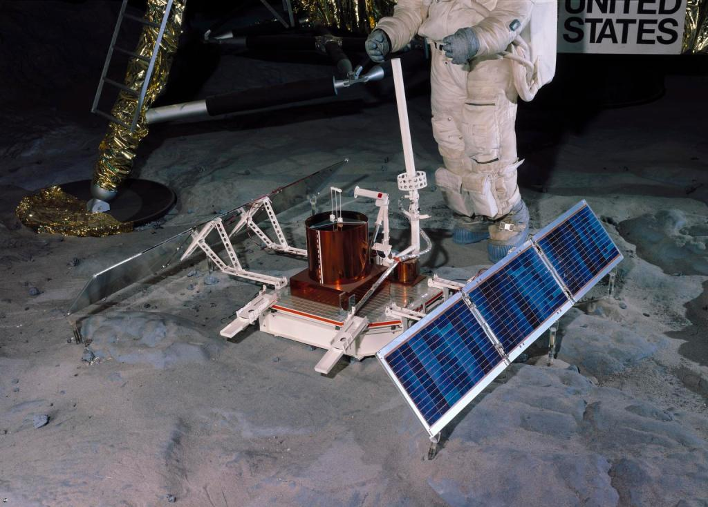 Apollo 11 Passive Seismic Experiment Package (PSEP), 1969. A full size model of one of the lunar surface experiments carried out by Neil Armstrong and Edwin 'Buzz' Aldrin during the first manned lunar landing mission, on 20th July 1969. (Image courtesy: Science Museum Group Collection)