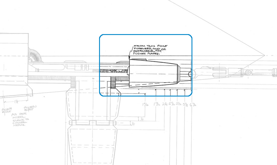 Detail notation on the Workbee grappler-arm/work sled side elevation view production drawing, by Leslie Ekker.