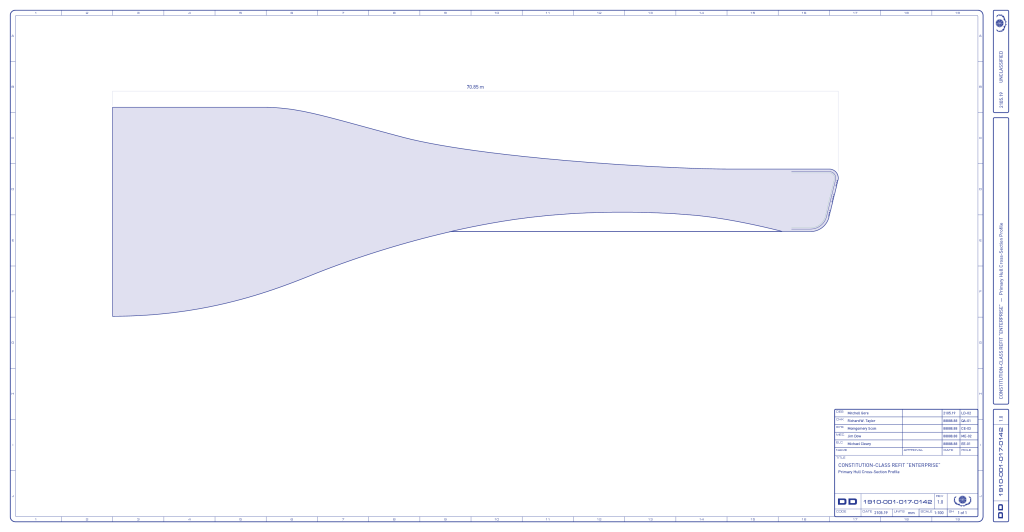 Preliminary study of the Enterprise-refit primary hull cross-section profile. (Image: Third Wave Design)