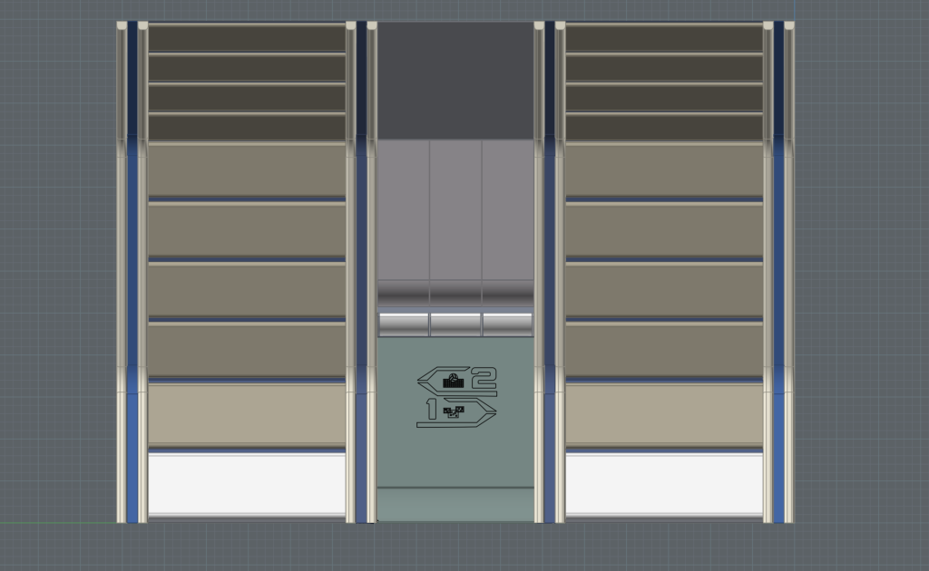 Work-in-progress front elevation of the side wall buttresses and alcove, with preliminary signage placement, on Enterprise Recreation Deck. (Image: Third Wave Design)