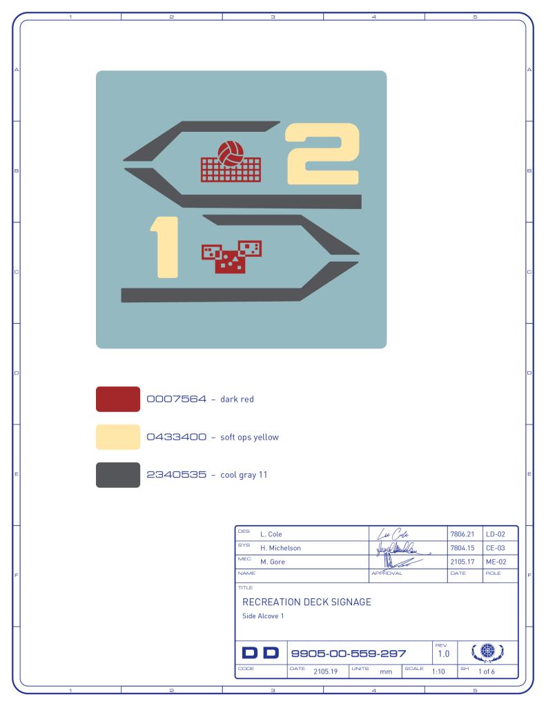 Preliminary signage artwork on Enterprise Recreation Deck. Based on the set graphics by Lee Cole (Image: Third Wave Design)