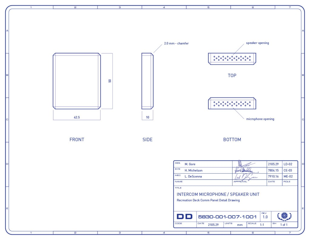 Detail drawing of the microphone/speaker unit, which is part of the multimedia intercom panel on the recreation deck of the Enterprise-refit. (Image: Third Wave Design)