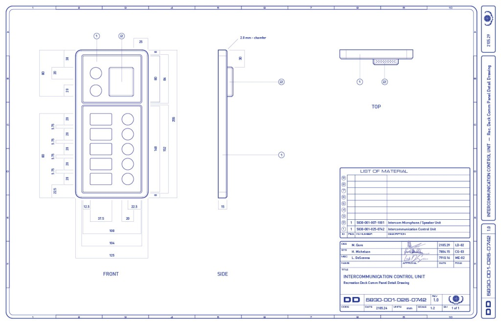 Detail drawing of the intercom control unit, which is part of the multimedia intercom panel on the recreation deck of the Enterprise-refit. (Image: Third Wave Design)