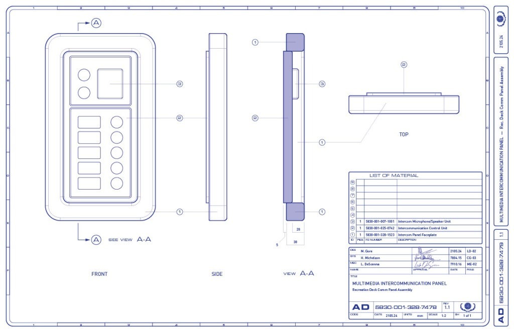 Assembly drawing of the multimedia intercom panel on the recreation deck of the Enterprise-refit. (Image: Third Wave Design)